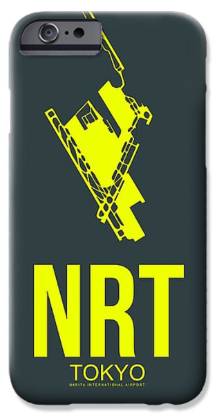 Town iPhone Cases - NRT Tokyo Airport Poster 2 iPhone Case by Naxart Studio