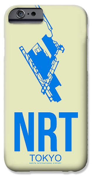 Town iPhone Cases - NRT Tokyo Airport Poster 3 iPhone Case by Naxart Studio