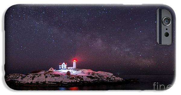 Nubble Lighthouse iPhone Cases - Nubble and the Milkyway iPhone Case by Scott Thorp