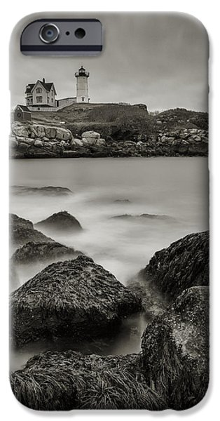 Recently Sold -  - Nubble Lighthouse iPhone Cases - Nubble Black and White iPhone Case by Tony Baldasaro