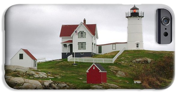 Nubble Lighthouse iPhone Cases - Nubble by Day iPhone Case by Mike Niday