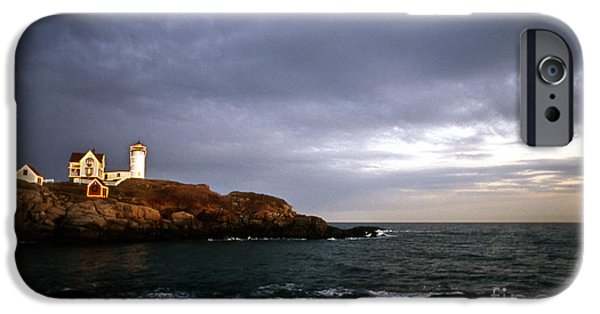 Nubble Lighthouse iPhone Cases - Nubble Christmas iPhone Case by Skip Willits
