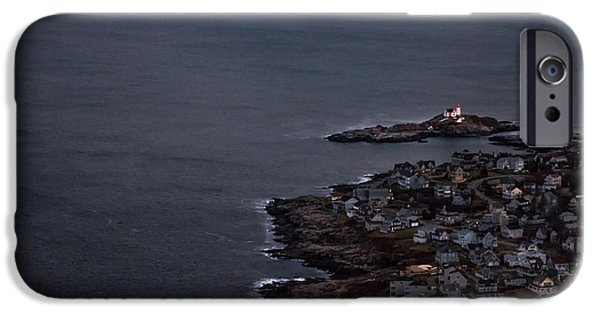Nubble Lighthouse iPhone Cases - Nubble from the Air iPhone Case by Scott Thorp