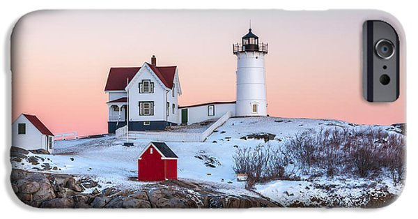 Recently Sold -  - Winter In Maine iPhone Cases - Nubble Glow 2 iPhone Case by Susan Cole Kelly