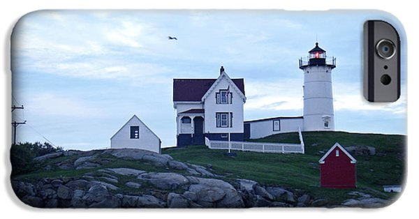 Cape Neddick Lighthouse Digital Art iPhone Cases - York Beach Maine - Cape Neddick Lighthouse on The Rocks iPhone Case by James Turnbull