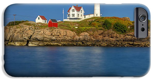 Cape Neddick Lighthouse iPhone Cases - Nubble Light and a Clear Blue Sky iPhone Case by Scott Lynde