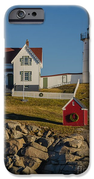Nubble Lighthouse iPhone Cases - Nubble Light at Christmas iPhone Case by Pat Lucas