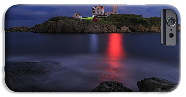 Nubble Lighthouse iPhone Cases - Nubble Light at Night iPhone Case by Tony Baldasaro