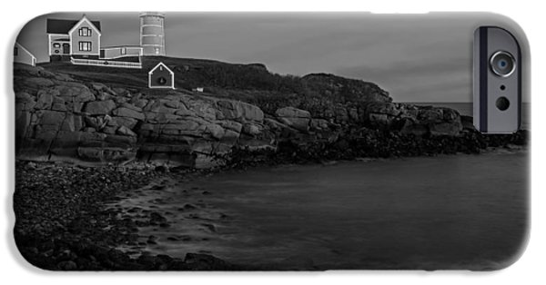 Nubble Lighthouse iPhone Cases - Nubble Light At Sunset BW iPhone Case by Susan Candelario