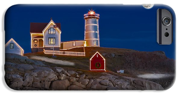 Nubble Lighthouse iPhone Cases - Nubble Light Cape Neddick Lighthouse iPhone Case by Susan Candelario