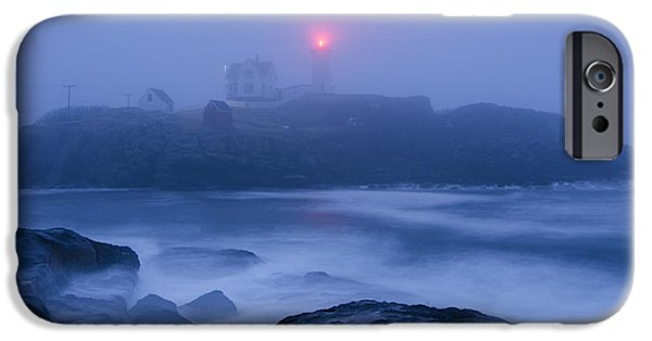 Nubble Lighthouse iPhone Cases - Nubble Light in Foggy Dawn iPhone Case by Donna Doherty