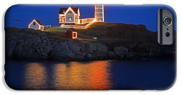 Cape Neddick Lighthouse Digital Art iPhone Cases - Nubble Light in York ME Cape Neddick Christmas blue sky iPhone Case by Toby McGuire