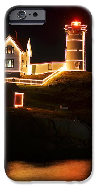 Nubble Lighthouse iPhone Cases - Nubble Light in York ME Cape Neddick Christmas iPhone Case by Toby McGuire