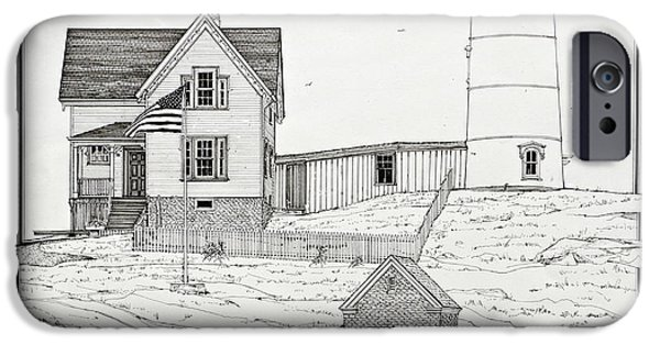 Nubble Lighthouse Drawings iPhone Cases - Nubble Light iPhone Case by Ira Shander