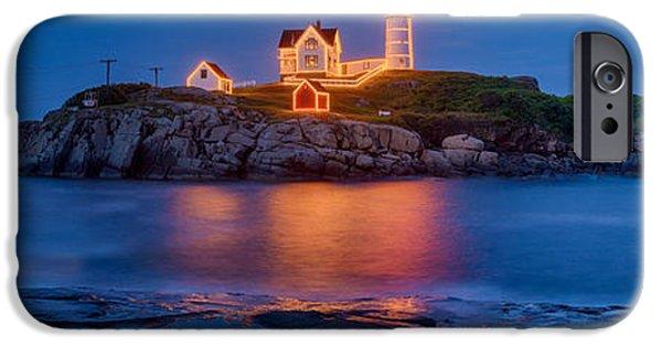 Cape Neddick Lighthouse iPhone Cases - Nubble Light Moonrise iPhone Case by Scott Lynde
