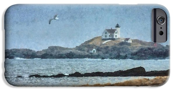 Cape Neddick Lighthouse Digital Art iPhone Cases - Nubble Light on Cape Neddick iPhone Case by Jeff Folger
