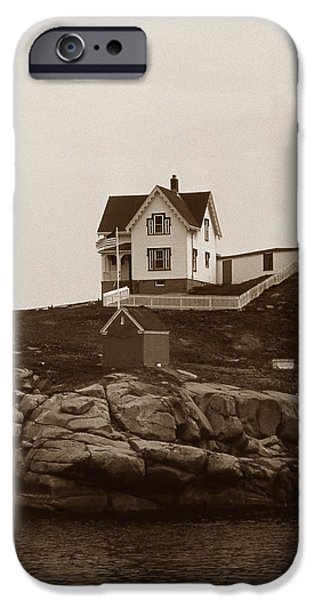 Nubble Lighthouse iPhone Cases - Nubble Light iPhone Case by Skip Willits