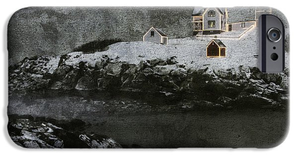 Cape Neddick Lighthouse Digital Art iPhone Cases - Nubble Light Stormy Night iPhone Case by Betty Denise