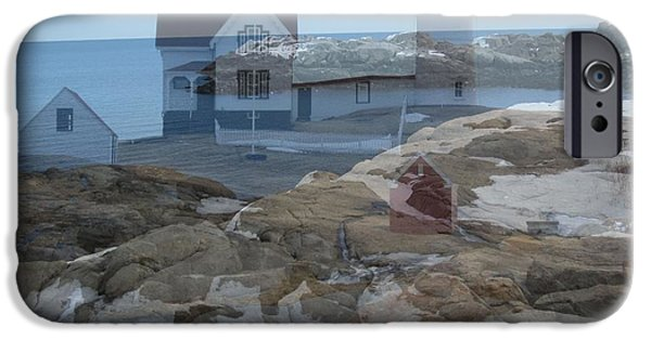 Nubble Lighthouse iPhone Cases - Nubble Light Watching Over the Rocky Shore iPhone Case by Patricia Urato