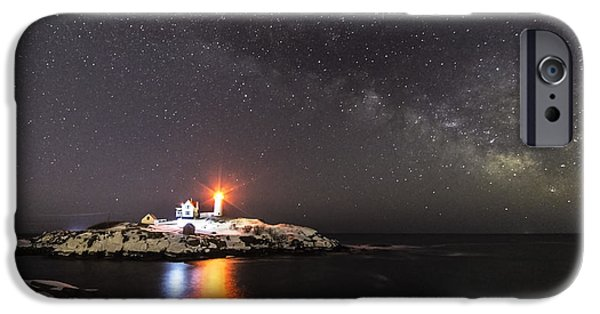 Nubble Lighthouse iPhone Cases - Nubble Light with Milky Way iPhone Case by Patrick Fennell