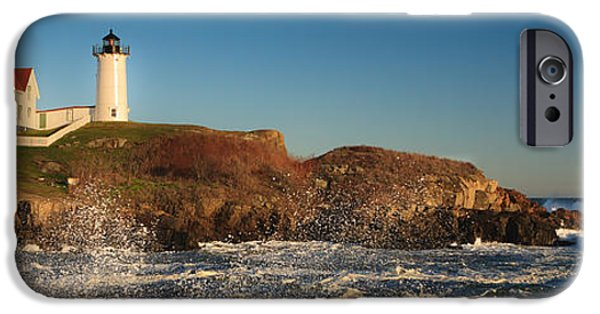 Nubble Lighthouse iPhone Cases - Nubble Light with Rough Seas iPhone Case by Kyle Lee