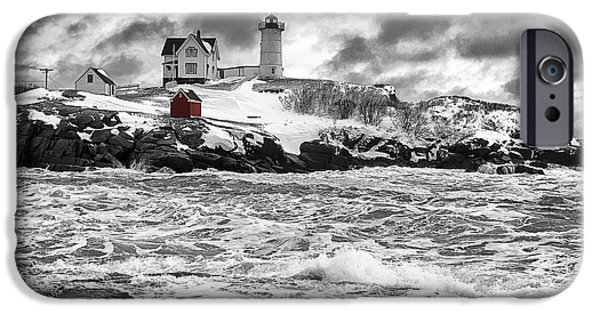 Nubble Lighthouse iPhone Cases - Nubble Lighthouse After the Storm iPhone Case by John Vose
