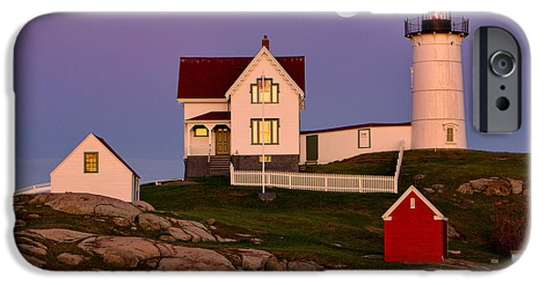 Nubble Lighthouse iPhone Cases - Nubble Lighthouse and Moon iPhone Case by Jerry Fornarotto