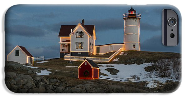 Nubble Lighthouse iPhone Cases - Nubble lighthouse at Christmas iPhone Case by Steven Ralser