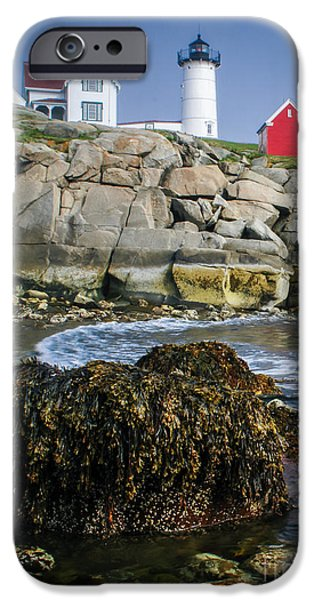Nubble Lighthouse iPhone Cases - Nubble Lighthouse at low tide iPhone Case by Scott Thorp