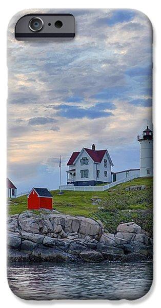 Nubble Lighthouse iPhone Cases - Nubble Lighthouse at sunrise iPhone Case by Jack Nevitt
