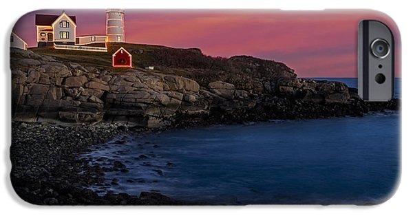Nubble Lighthouse iPhone Cases - Nubble Lighthouse At Sunset iPhone Case by Susan Candelario
