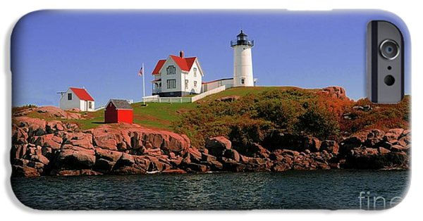 Nubble Lighthouse iPhone Cases - Nubble Lighthouse-Cape Neddick iPhone Case by Kathleen Struckle