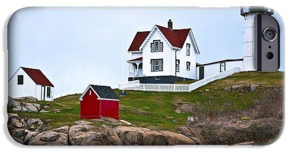 Nubble Lighthouse iPhone Cases - Nubble Lighthouse Cape Neddick Maine 3 iPhone Case by Glenn Gordon