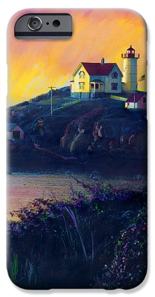 Cape Neddick Lighthouse Paintings iPhone Cases - Nubble Lighthouse iPhone Case by Cindy McIntyre