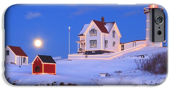 Nubble Lighthouse iPhone Cases - Nubble Lighthouse Full Moon and Holiday Lights iPhone Case by John Burk