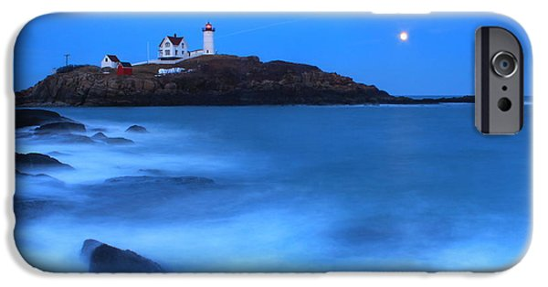 Nubble Lighthouse iPhone Cases - Nubble Lighthouse Full Moon Tide iPhone Case by John Burk