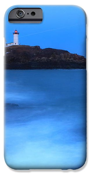 Nubble Lighthouse Full Moon Tide iPhone Case by John Burk