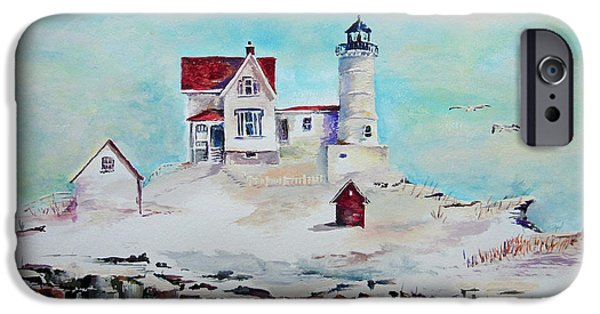 Cape Neddick Lighthouse Digital Art iPhone Cases - Nubble Lighthouse iPhone Case by Gerald Cooley