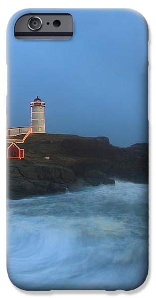 Nubble Lighthouse High Surf and Holiday Lights iPhone Case by John Burk