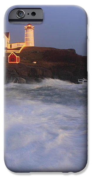 Nubble Lighthouse Holiday Lights and High Surf iPhone Case by John Burk