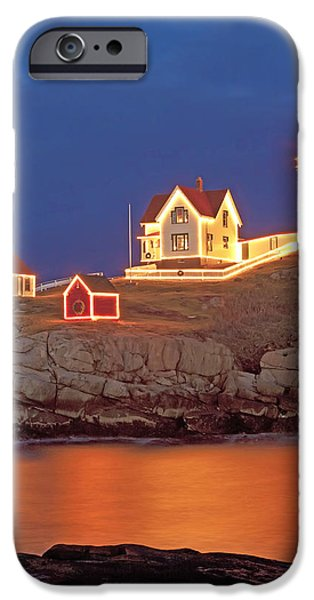 Nubble Lighthouse-Holiday lights iPhone Case by John Vose