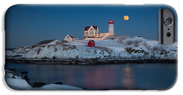 Winter In Maine iPhone Cases - Nubble Lighthouse in Winter iPhone Case by Betty Wiley
