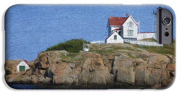Cape Neddick Lighthouse Digital Art iPhone Cases - Nubble Lighthouse iPhone Case by Jayne Carney