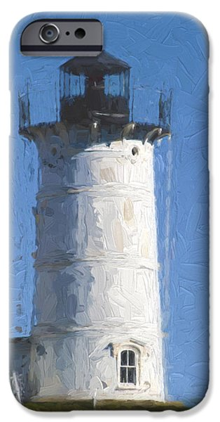 Cape Neddick Lighthouse iPhone Cases - Nubble Lighthouse Maine Painterly Effect iPhone Case by Carol Leigh