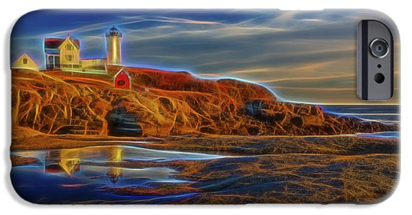 Cape Neddick Lighthouse Digital Art iPhone Cases - Nubble Lighthouse Neon Glow iPhone Case by Susan Candelario
