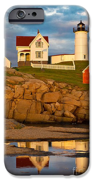 Cape Neddick Lighthouse Digital Art iPhone Cases - Nubble Lighthouse No 1 iPhone Case by Jerry Fornarotto