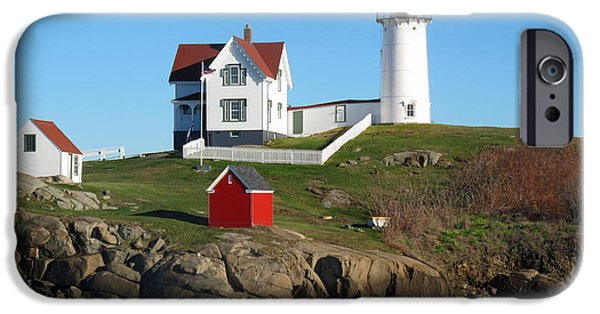 Nubble Lighthouse iPhone Cases - Nubble Lighthouse One iPhone Case by Barbara McDevitt