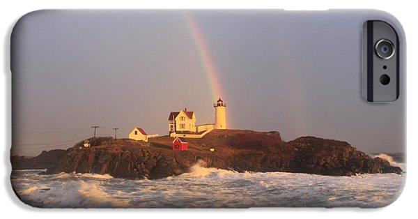 Cape Neddick Lighthouse Photographs iPhone Cases - Nubble Lighthouse Rainbow and High Surf iPhone Case by John Burk