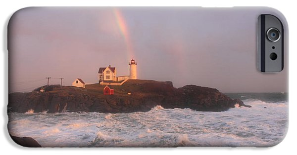 Cape Neddick Lighthouse iPhone Cases - Nubble Lighthouse Rainbow and Surf at Sunset iPhone Case by John Burk