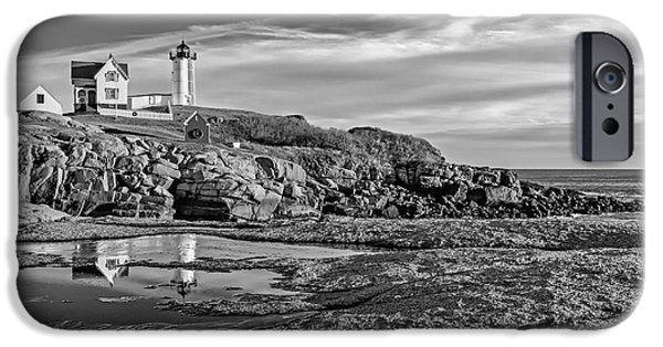 Maine iPhone Cases - Nubble Lighthouse Reflections BW iPhone Case by Susan Candelario